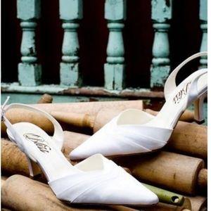 Bliss Bridal Frisee Slingback Heels #6